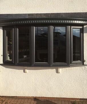 black bow window