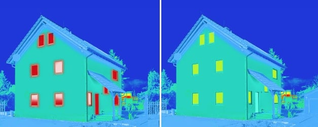 Thermal image of before and after installation of energy-efficient windows and doors. Polar Bear Windows